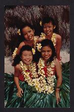 c1953 Nani Li'i Bright Faces young Girls in Grass Skirts Hawaii postcard