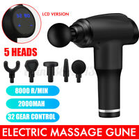 5 Heads LCD Massage Gun Percussion Massager Muscle Relaxing Therapy Deep Tissue