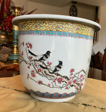 Large Vintage Chinese Flowers, Birds And Trees Porcelain Planter- Hand Painted