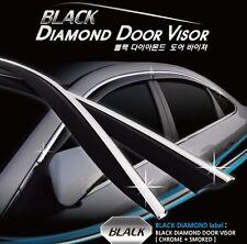 Smoked+Chrome Black Diamond Door Visor 6Pcs For Hyundai Sonata LF 2014-Current