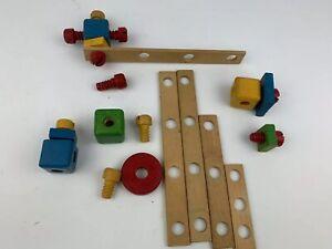 BAUFIX Vintage Wooden Building Kids Toy German Imagination Play Set Spare Parts