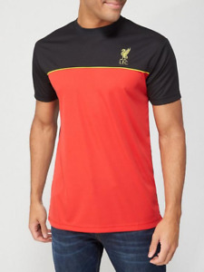 Liverpool FC Men's Shirt Source Lab Short Sleeve Panel T-Shirt - Red/Black - New