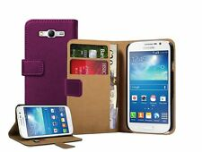 Wallet PURPLE Leather Flip Case Cover Pouch for Samsung Galaxy Grand Neo +2 FILM