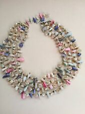 Necklace Multi Color Mother of Pearl Shell Bead, 4  thread. Length 14 ""