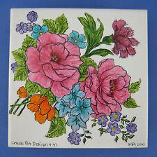 Crack Pot Design Tile Trivet Flowers Artist Signed KR Loo