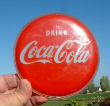 """NICE VINTAGE 5"""" Round COCA COLA SIGN Curved Plastic BUTTON STURDY"""