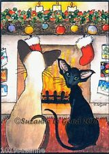 ACEO SIAMESE ORIENTAL CAT CHRISTMAS PRINT FROM ORIGINAL PAINTING SUZANNE LE GOOD
