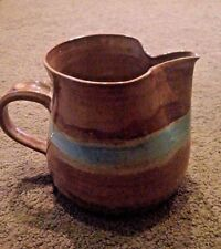 Handcrafted Stoneware Pottery Brown Small Pitcher w Blue Stripe