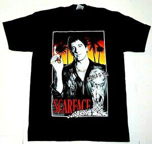SCARFACE T-shirt Tony Montana Gangster Movie Men's Tee 100%Cotton Black New