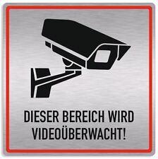 Schild Videoüberwachung, Bereich videoüberwacht, Aluverbund silber - edle Optik