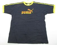 PUMA #T6608 Men's Size L Athletic 100% Cotton LOGO Short Sleeve Blue Shirt