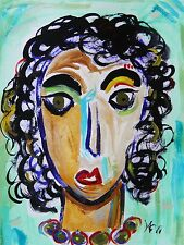 ORIGINAL Girl  Naive RAW BRUT Folk Outsider Mary Carol art MCW Primitive