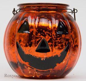 Halloween Orange Glass Pumpkin Jack-O-Lantern Autumn Tealight Holder 7 in Tall