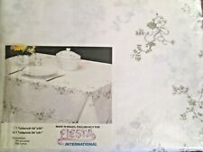 """VINTAGE FIESTA WHITE BLOSSOM FLORAL TABLECLOTH 54"""" X 91"""" BRAND NEW"""