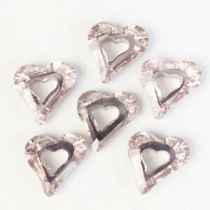 6Pcs 10x10x4mm Faceted Pink Titanium Crystal Heart Pendant Bead H78636