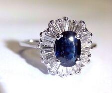 14K White Gold Natural Sapphire Baguette Diamond Ballerina Halo Ring Size 6.5