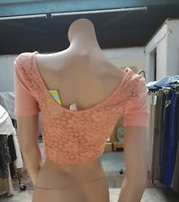 BNWT LOVELY Forever 21 Coral -Pink  Colour Crop Cami Top Back Lace  Size L