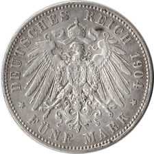 1904 Germany - Prussia 5 Mark Large Silver Coin KM#523