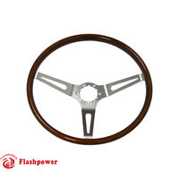 Flashpower GM Classic Wood Steering Wheel Original Restoration Muscle Car 15''