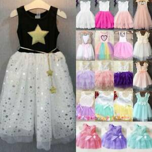 Flower Lace Princess Tutu Dress Toddler Girls Bridesmaid Pageant Party Dress AU