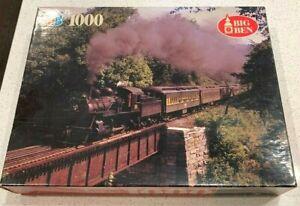 Vintage Big Ben Train Puzzle Locomotive in New England 1000 Piece MB 4962-14