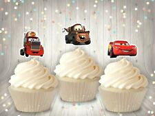 12 Disney Cars Birthday Cupcake Toppers Lightening Mcqueen Mater Mack Cake Flags