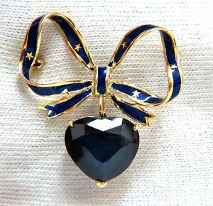 10ct Lab Sapphire Royal Blue Patriot Democrat Love Dangle Brooch