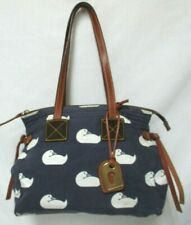 Dooney & Bourke Vintage Canvas Leather Duck print zip tote Shoulder Bag Handbag