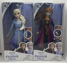"DISNEY STORE FROZEN 2 SINGING ELSA & ANNA HASBRO 11"" DOLL SET NEW"
