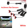 4x16mm Flat Sensors Car Reversing Parking Backup Radar Buzzer Alarm System White