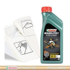 Castrol Magnatec 5W-30 C2 Engine Oil Top Up 1 LITRE + Gloves,Wipes,Funnel