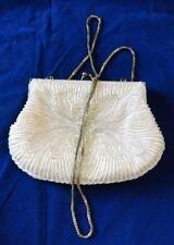 White La Regale Handmade Glass Beaded Evening Clutch Vintage Bag Crossbody Purse