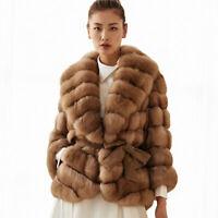 Top Women's Full Pelt Sable Color Real Fox Fur Coat Lapel Collar Jacket Overcoat