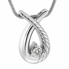 Ribbon CZ Stone Keepsake Cremation Urn Glass Stainless Steel Pendant Necklace