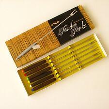 6 Fourchettes à Fondue -  Manche Bois avec couleurs - Neuves boîte d'origine