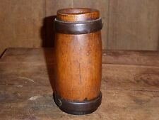 RARE 18th C OLD EARLY PRIMITIVE WOOD AND WROUGHT IRON HERB MORTAR pestle
