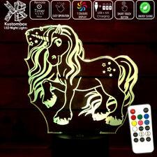 UNICORN RAINBOW GIRLS LITTLE PONY 3D LED NIGHT LIGHT LAMP 7 COLOUR'S + REMOTE