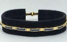 Vintage18k Genuine Sapphire and Diamond Line Bracelet
