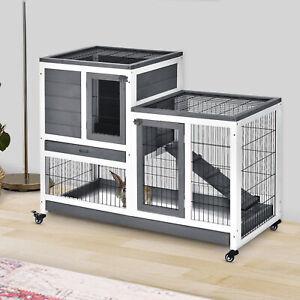 Wooden Rabbit Hutch Bunny Guinea Pigs House Cage Wheels Indoor 110 x 50 x 86cm