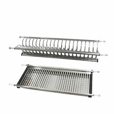 Stainless Steel 2-tier Dish Drying Rack Drainer Plate for Cabinet Bowl Storage
