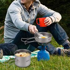 Lixada Titanium Cookset Camping Cookware Set 900ml Pot and 350ml Fry Pan  Z8S6