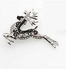 BEAUTIFUL ENAMEL & RHINESTONE DEER NECKLACE AND BROOCH - FREE UK P&P......CG2080