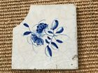 ANTIQUE 17C DUTCH DELFT TILE BLUE AND WHITE DEPICTING A ROSE AND AN INSECT