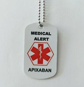 Medical Alert tag Necklace for blood thinner medication