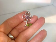 STERLING SILVER FLOWER BROACH WITH GENUINE PERIDOT AND AMETHIST FACETED STONES