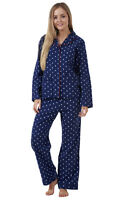 Ladies Long Sleeve Pyjama Set 100% Cotton PJ'S Womens Pyjamas
