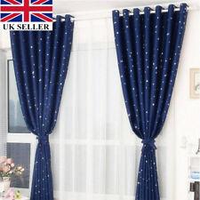 2 Pcs Kids Children Fairy Stars Pattern Blackout Lined Curtain Ready Made Uk