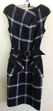 KAREN MILLEN CLASSIC BLACK GREY & WHITE CHECK PEPLUM BELT PENCIL DRESS UK 10