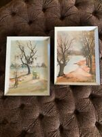 2  VINTAGE Mid Century Modern SIGNED WATER COLOR PAINTING EAB '53 Orig Frames