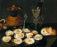 Oil painting osias beert,the elder - Bodegon (Oysters and Glasses) still life